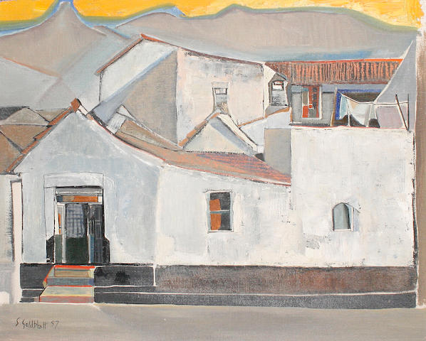 Sidney Goldblatt (South African, 1919-1979) Study of a house with yellow sky