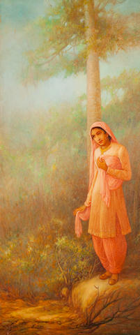 Ustad Allah Bux (Pakistan, 1895-1978) Heer waiting for Ranjha,