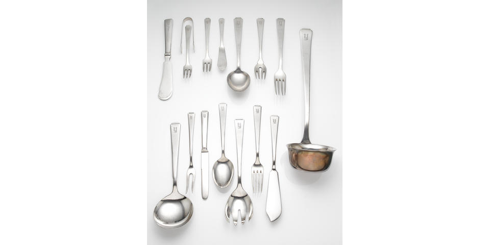 A Chinese silver table service of flatware, makers mark E.C., by E. Clemann of Peking, also impressed 935,