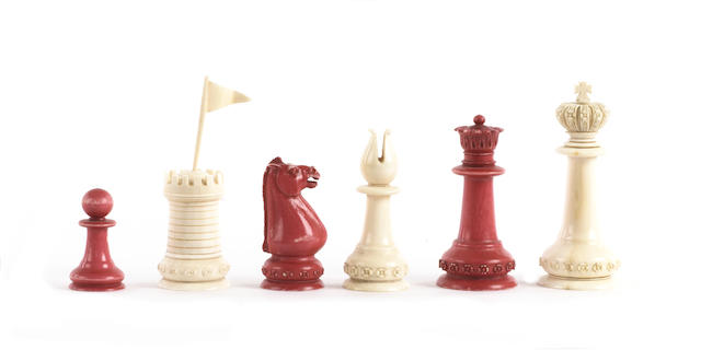 "An Indian Export ""Staunton Pattern"" ivory chess set, circa 1860,"