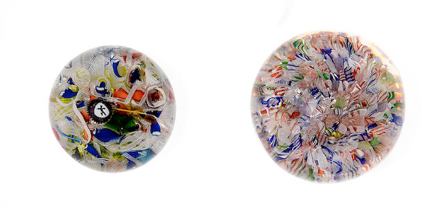 Two scrambled millefiori paperweights Circa 1850.