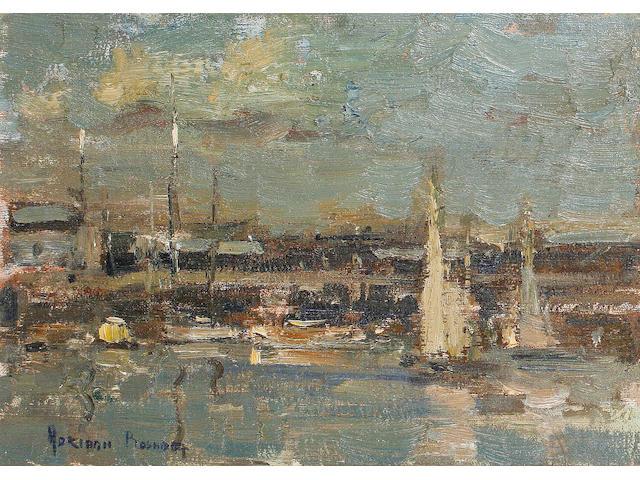 Adriaan Hendrik Boshoff (South African, 1935-2007) Harbour scene