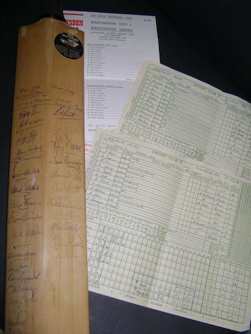 1968 Manchester Utd v Manchester City hand signed cricket match memorabilia