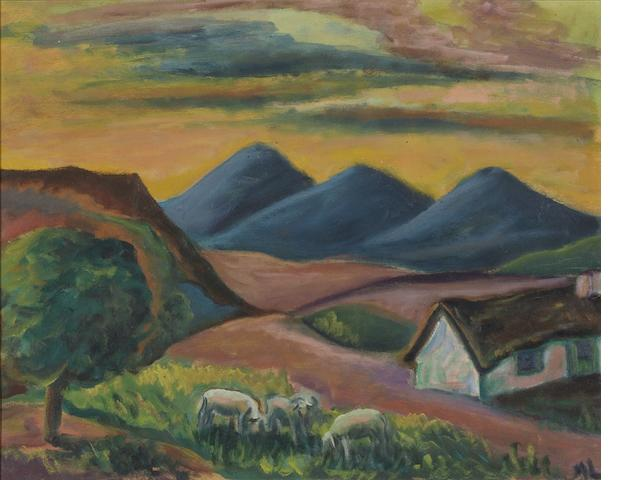 "Maria Magdalena (""Maggie"") Laubser (South African, 1886-1973) Landscape with house and sheep"