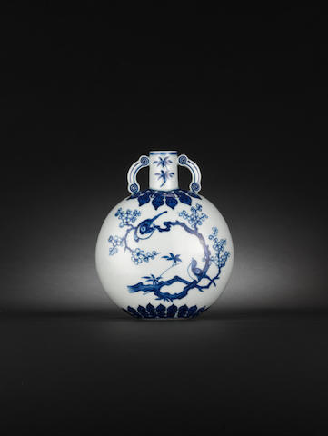 A rare and small Ming-style blue and white moonflask, bianhu, Qianlong/ 18th C ??