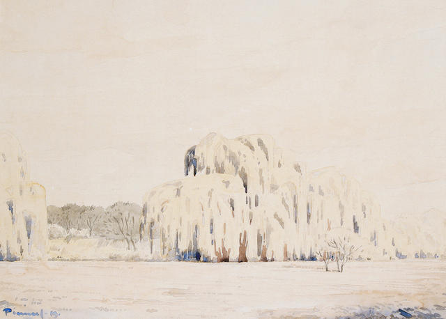 Jacob Hendrik Pierneef (South African, 1886-1957) Willows in a landscape