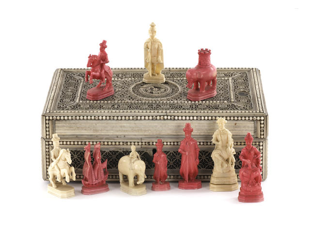 A Russian Export walrus ivory figural chess set, Kholomogory, late 18th century,