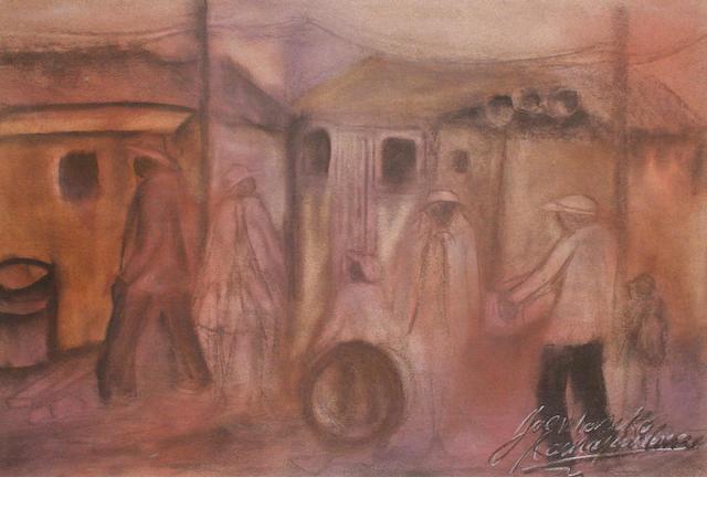 Joe (Joseph Ramapulane) Maseko (South African, b.1940) Township scene