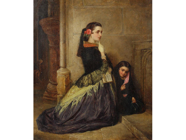 John Phillip (British, 1817-1867) Spanish girls at prayer