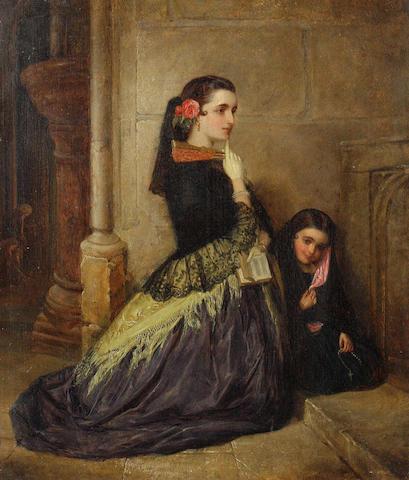 John Phillip (British, 1817-1867) Spanish girls at prayer