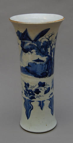 A 19th/20th Century blue and white sleeve vase