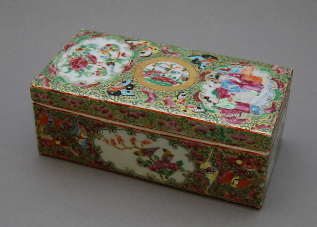 A Chinese Famille Rose box and cover