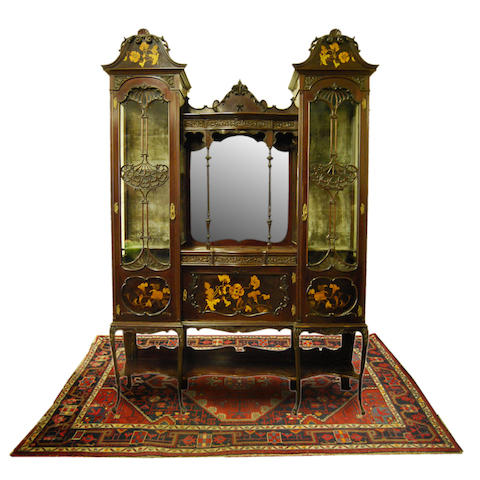 A large 1920s mahogany and inlaid display cabinet