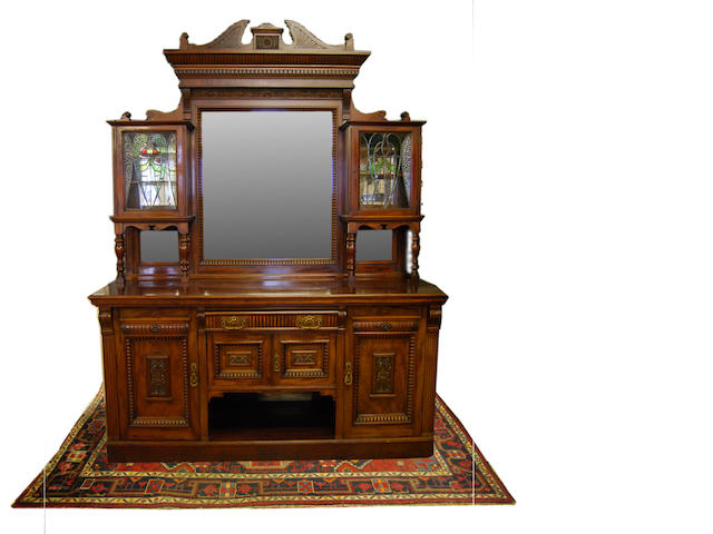 A large late Victorian mahogany mirror-back sideboard