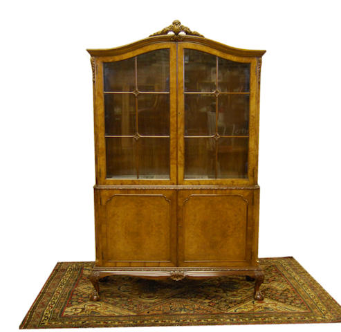 A figured walnut display cabinet, 20th Century