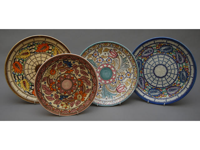 A group of four Charlotte Rhead plates