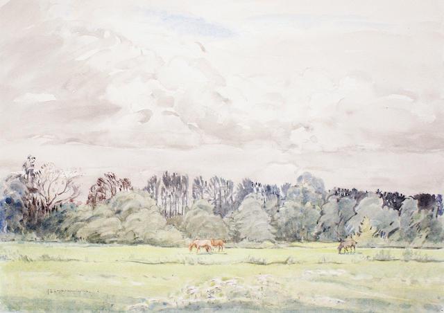 John Sanderson Sanderson-Wells, RI (British, 1872-1955) Landscape with horses
