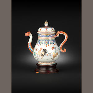 A rare famille rose coffee pot and cover Yongzheng, circa 1735