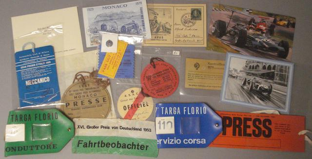 A group of International Motor Racing Competitor's memorabilia 1950s-1970s,