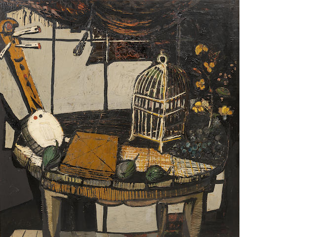 Christo Coetzee (South African, 1929-2001) Still life with fruit, a banjo and birdcage