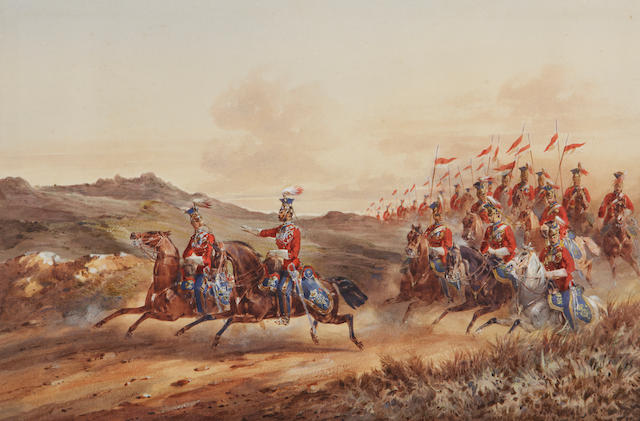 Orlando Norrie - cavalry charging, watercolour