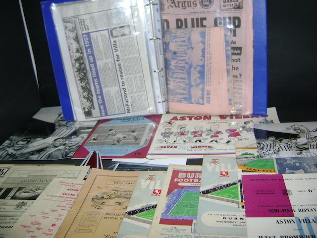 1957 Aston Villa F.A. Cup programmes and ephemera
