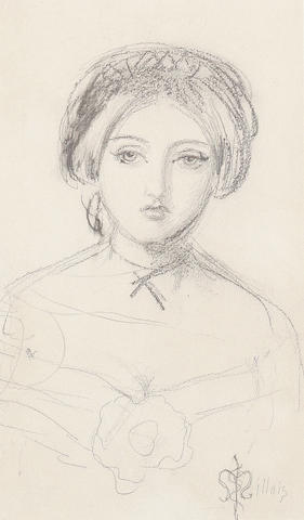 John Everett Millais An English beauty in the manner of John Leech