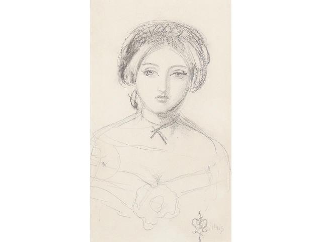 Sir John Everett Millais (British, 1829-1896) An English beauty in the manner of John Leech