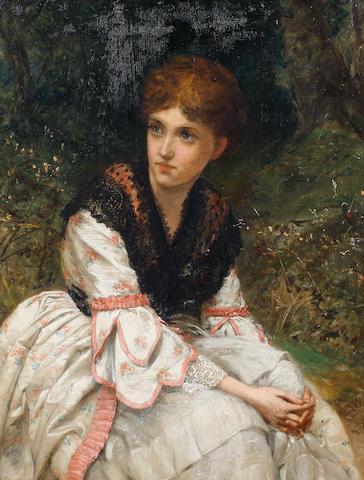 William Oliver (British, fl.1865-1897) 'The meeting place'