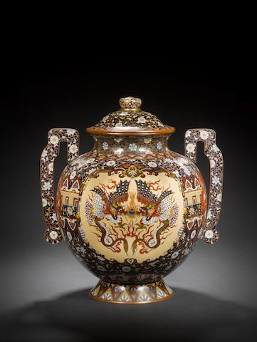 A large cloisonné enamel vase and a cover Meiji Period