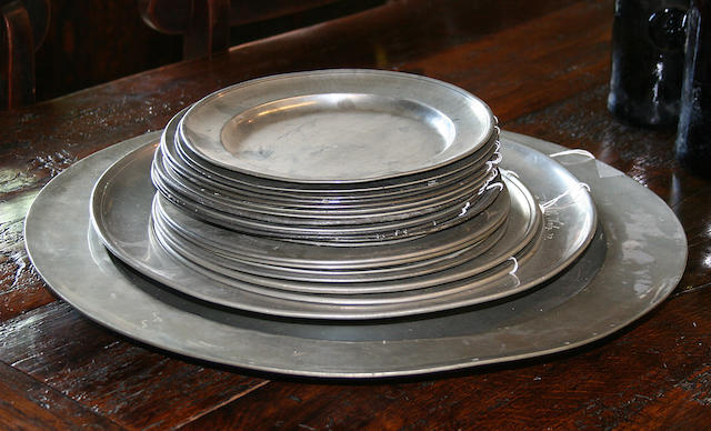 A Collection of 18th Century pewter plates