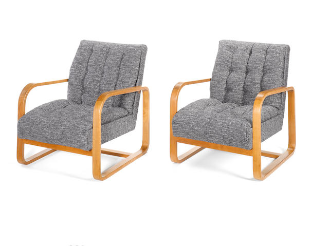 Serge Chermayeff, a pair of 'Plan' chairs, designed 1933 laminated beech plywood frames