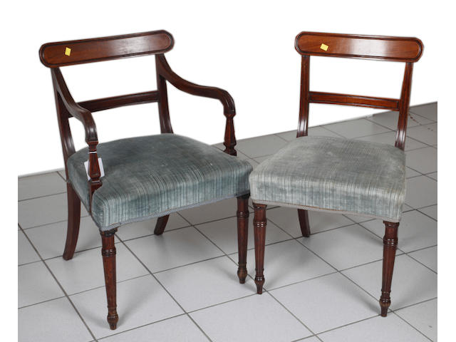 A set of twelve Regancy mahogany dining chairs