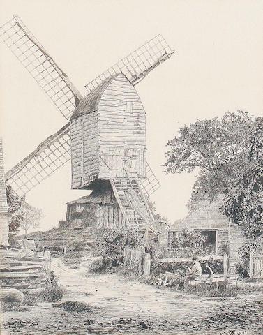 English School, late 19th Century A boy seated by a windmill