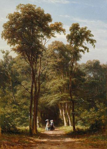 Jan Willem van Borselen (Dutch, 1825-1892) Along the woodland path
