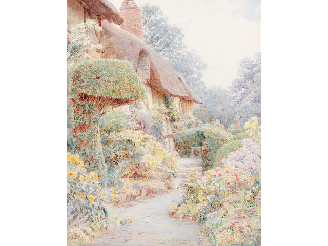 George Samuel Elgood (British, 1851-1943) Anne Hathaway's cottage