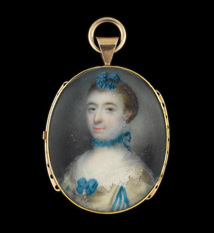 Samuel Collins (British, circa 1735-1768) A Lady, wearing cream dress, the sleeves with blue trimmed slashes to reveal striped blue and white, white lace collar held with blue ribbon bow and pendent pearl, strands of pearls from her corsage, blue ruffled ribbon choker tied at the nape of her neck, pearl earring and blue ribbon atop her upswept hair dressed in a plait