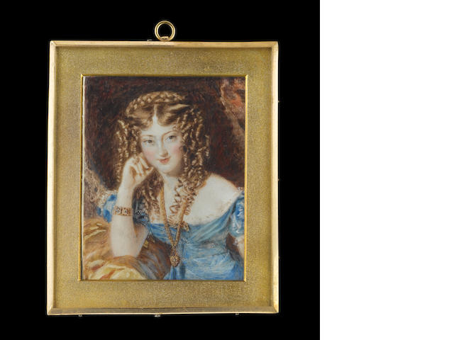 Alfred Edward Chalon, RA (British, 1780-1860) Miss Roper, wearing blue dress over white lace slip, jewel encrusted heart-shaped pendant on a gold chain about her neck and matching bracelet, her hair dressed in ringlets and plaited across the crown, she rests her right elbow on a gold-coloured cloth
