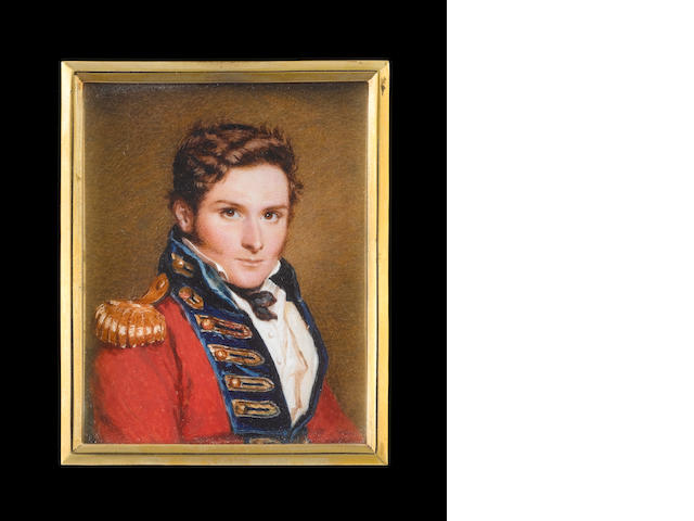 Alfred Edward Chalon, RA (British, 1780-1860) A Staff Officer, seated on a blue upholstered chair wearing red coatee with blue facings, gold button holes, gold epaulette, white waistcoat, chemise, black cravat
