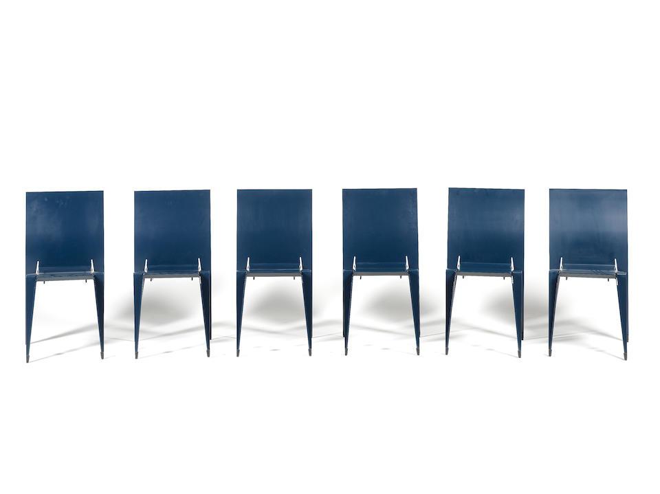 Mart van Schijndel for Lensvelt, six 'Fulfil' chairs, designed 1996 laser cut, bent and welded sheet aluminium
