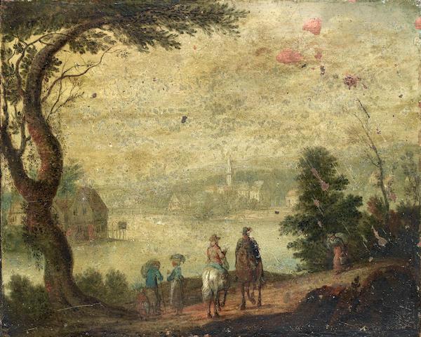Attributed to Joseph van Bredael (born 1688-1739 Paris) Travellers on horseback unframed