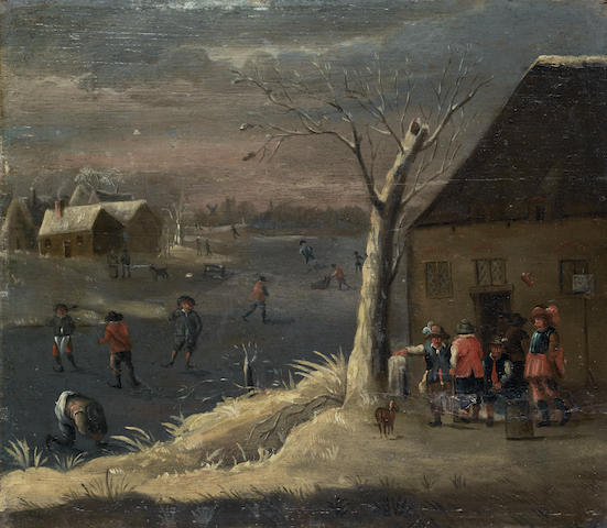 Follower of Theobald Michau (Tournai 1676-1765 Antwerp) A winter landscape with figures