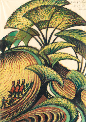 Sybil Andrews, CPE (British/Canadian, 1898-1993) Fall of the leaf Linocut, 1934, printed in chrome yellow, transparent golden ochre, crimson, viridian and Chinese blue, on buff oriental laid tissue, signed, titled and numbered 2/60 in pencil upper right, 365 x 260mm (14 1/3 x 10 1/4in)(I)