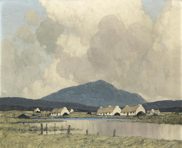 Paul Henry R.H.A. (1876-1958) The Village by the Marsh 45.6 x 56 cm. (18 x 22 in.)