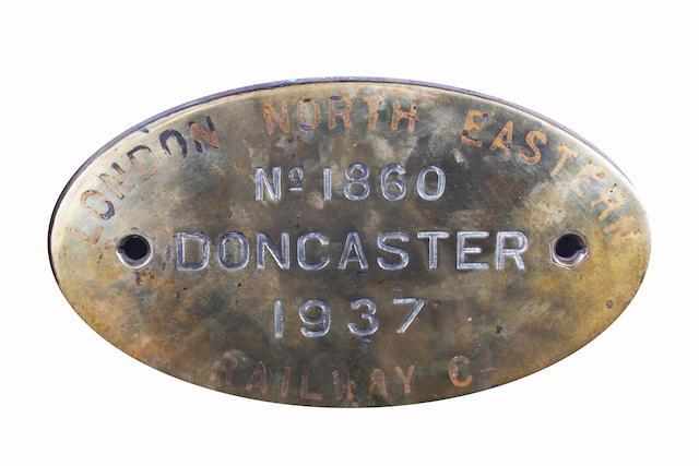 London North Eastern Railway Co. brass worksplate No.1860 Doncaster 1937 ex-LNER A4 class 4495 (BR 60030) Golden Fleece