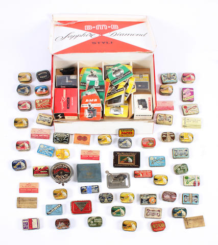 A large collection of needle tins and gramophone accessories qty
