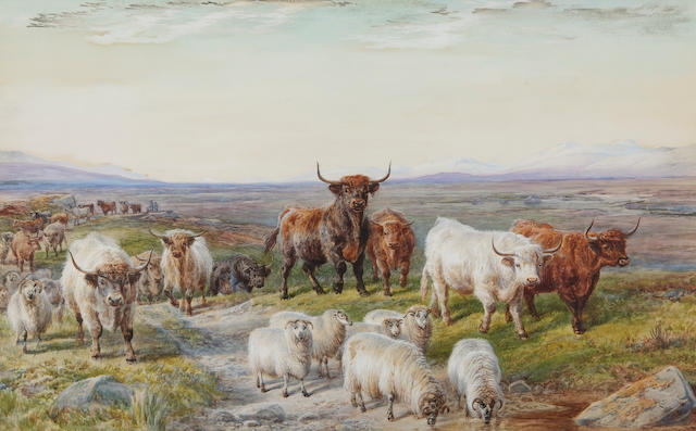 Charles Jones, RCA (British, 1836-1892) 'Driving home the herd'