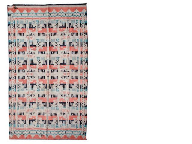 An Art Deco style flat woven small carpet 283 x 210cm