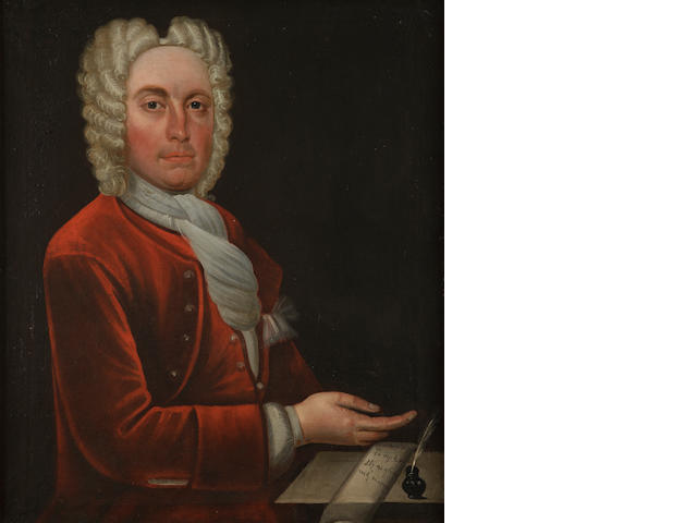 Scottish School, 18th Century  Portrait of a gentleman in red holding a letter
