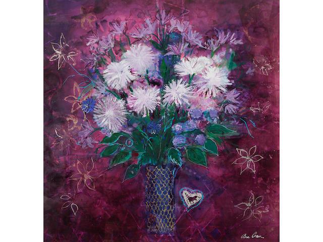 Ann Oram, RSW (British, born 1956) 'White chrysanthemum and little heart'